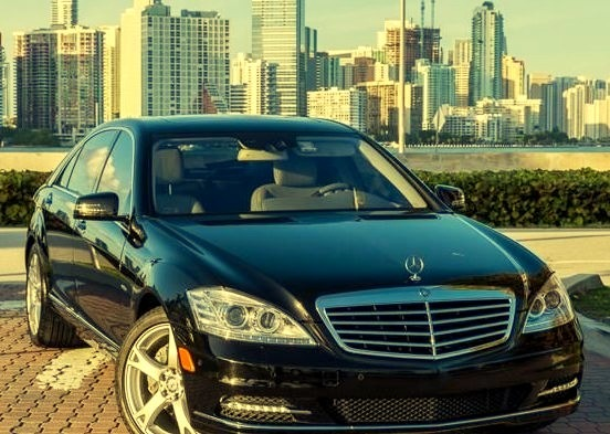 Black S Class Parked with Miami View