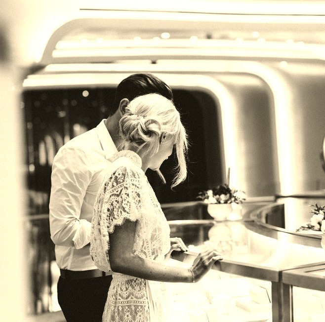 Model Couple Shopping for Diamonds in Tiffany & Co